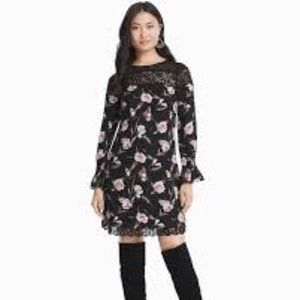 WHBM LONG-SLEEVE FLORAL LACE SHIFT DRESS CHERRY 8